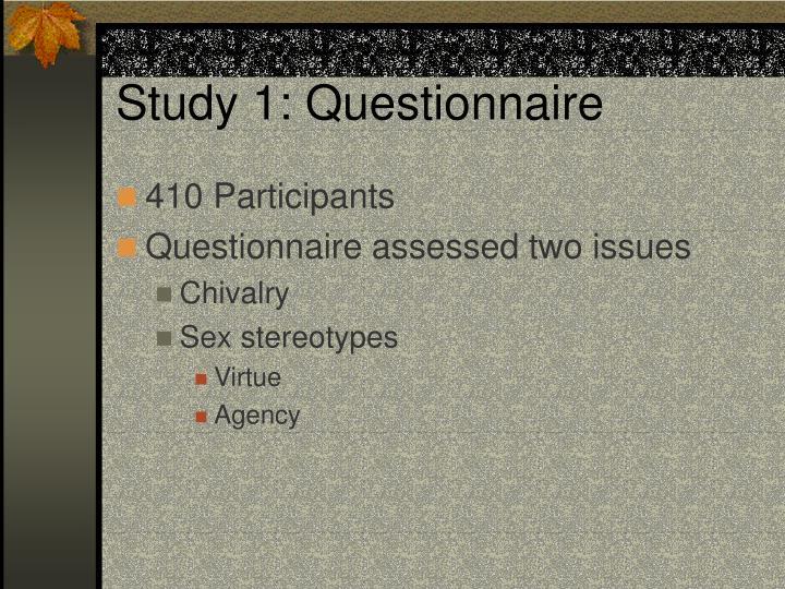 Study 1: Questionnaire