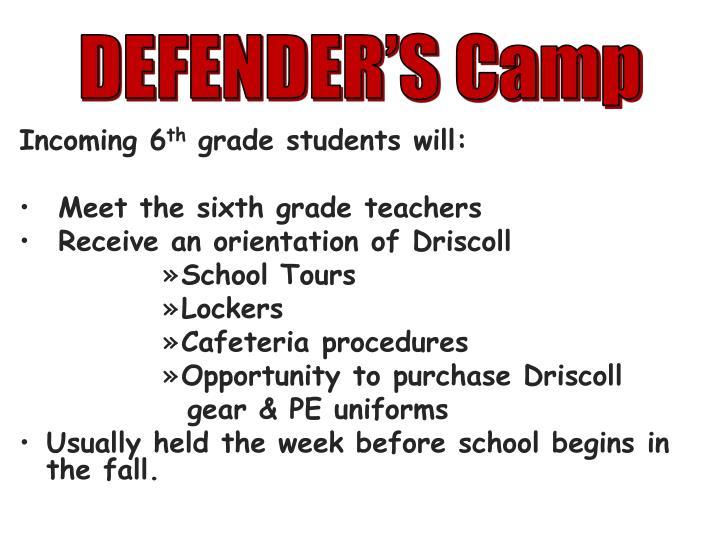 DEFENDER'S Camp