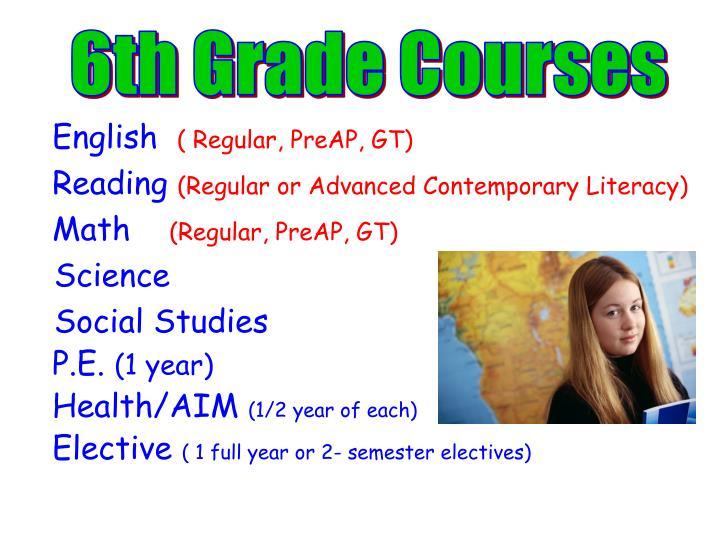 6th Grade Courses