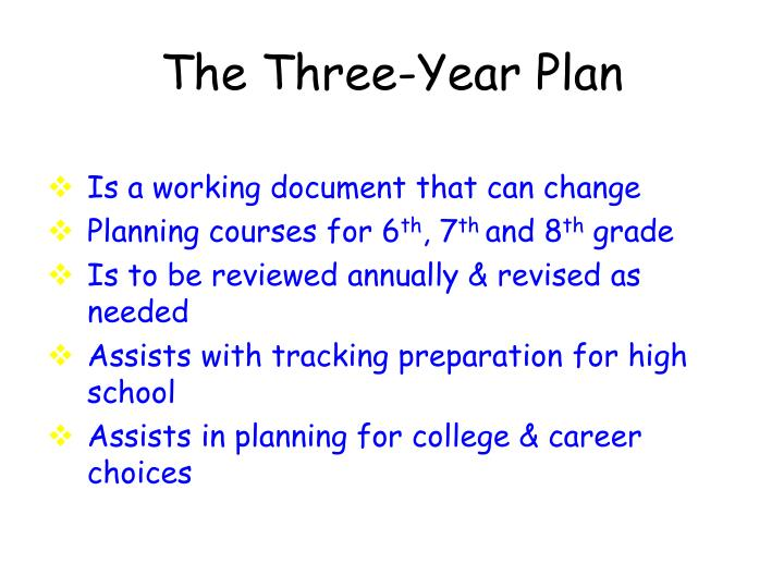 The Three-Year Plan