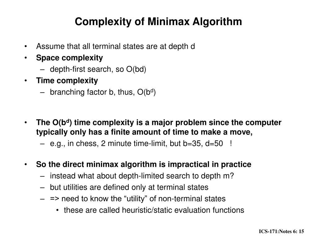 Complexity of Minimax Algorithm