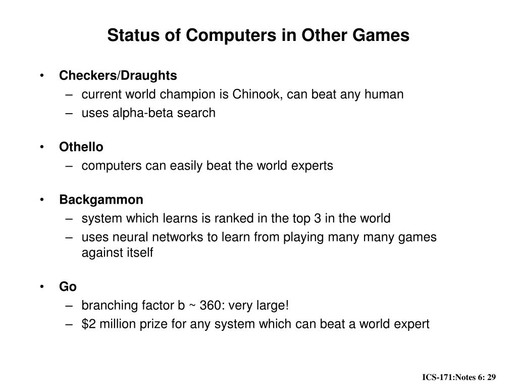 Status of Computers in Other Games