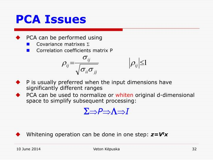 PCA Issues