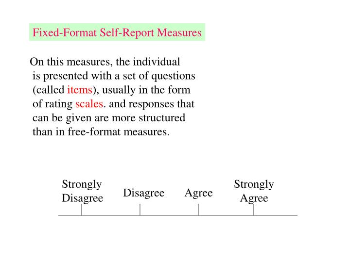 Fixed-Format Self-Report Measures