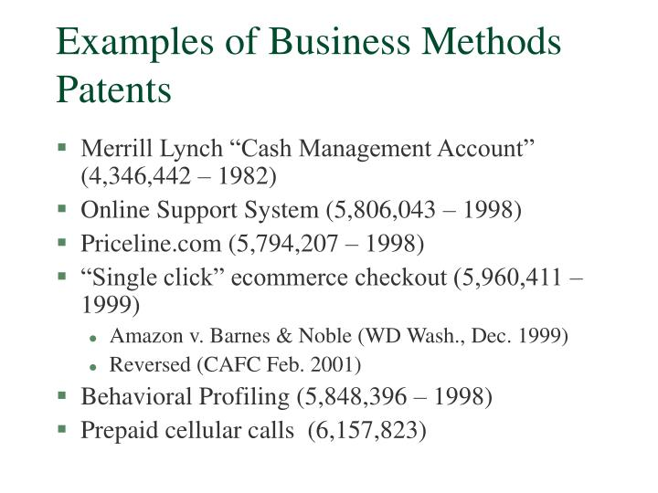 Examples of Business Methods Patents
