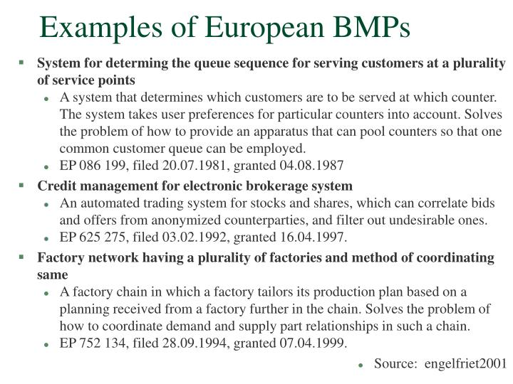 Examples of European BMPs
