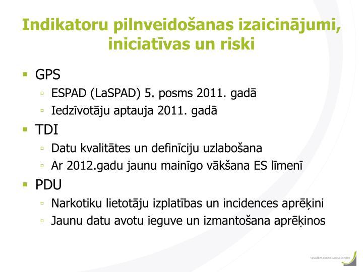 Indikatoru pilnveidošanas izaicinājumi, iniciatīvas un riski