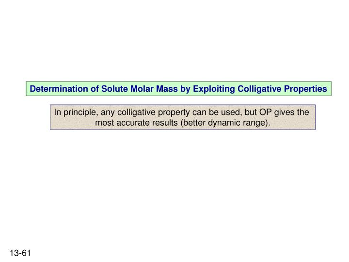 Determination of Solute Molar Mass by Exploiting Colligative Properties