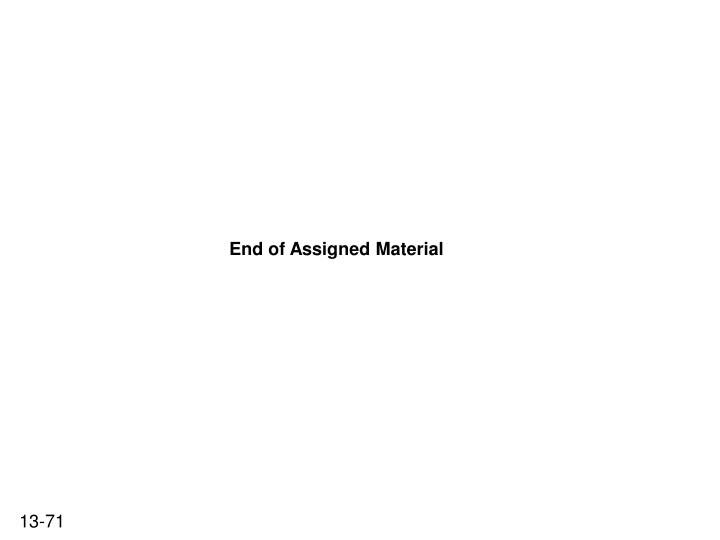 End of Assigned Material
