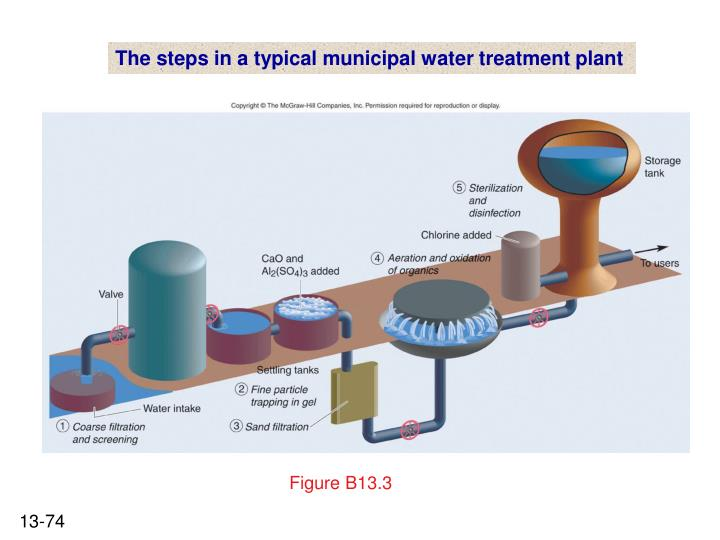 The steps in a typical municipal water treatment plant