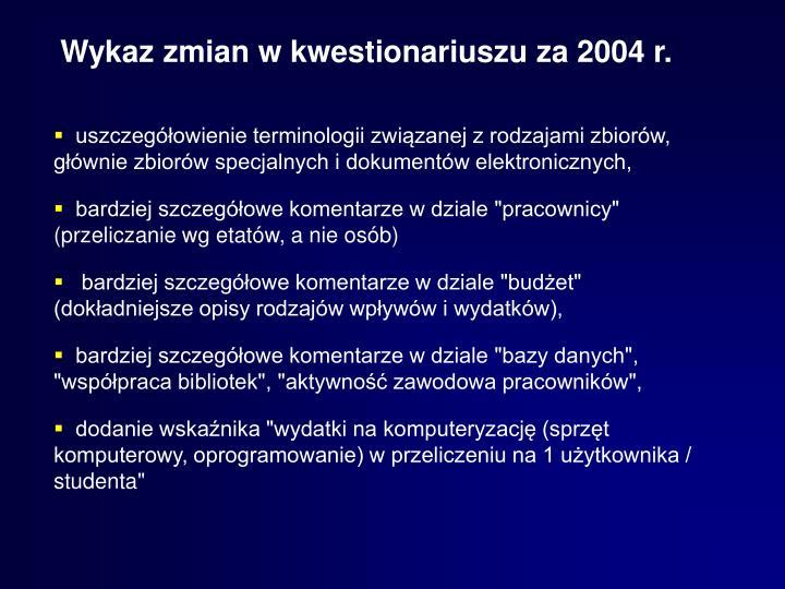 Wykaz zmian w kwestionariuszu za 2004 r.