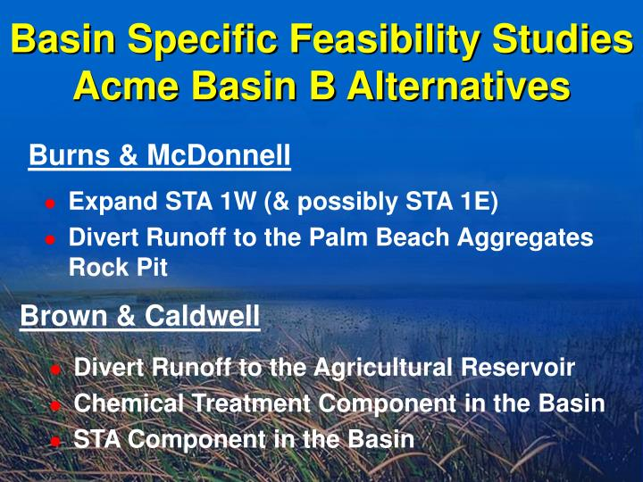 Basin Specific Feasibility Studies