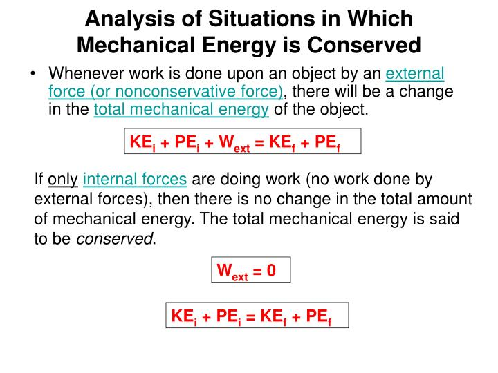 Analysis of Situations in Which Mechanical Energy is Conserved