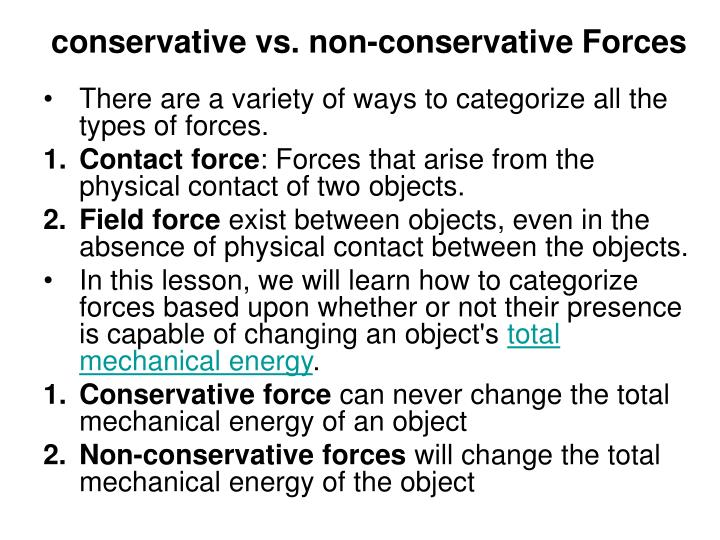 conservative vs. non-conservative Forces