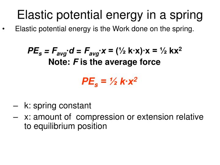 Elastic potential energy in a spring