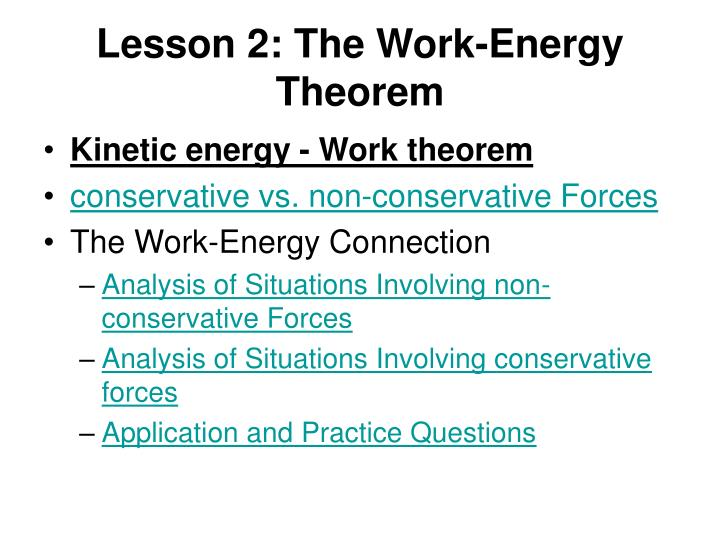 Lesson 2: The Work-Energy Theorem