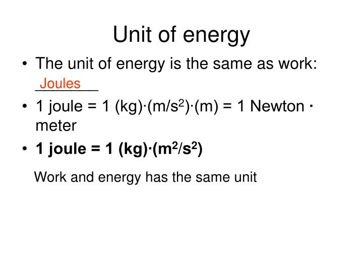 Unit of energy