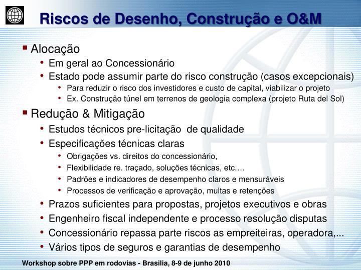 Riscos de Desenho, Construção e O&M