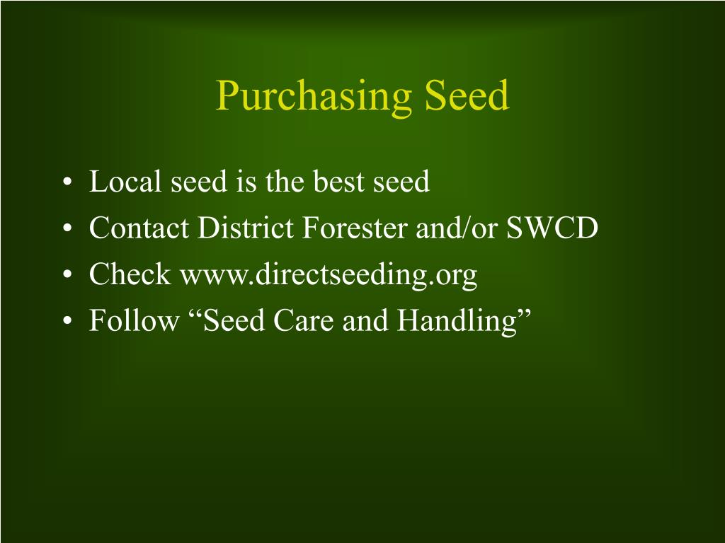 Purchasing Seed
