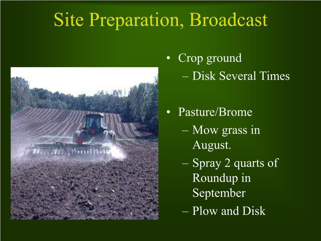 Site Preparation, Broadcast