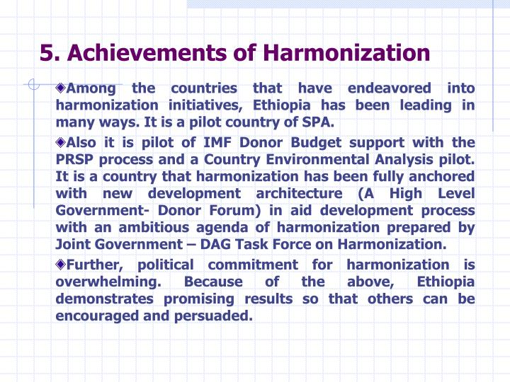5. Achievements of Harmonization