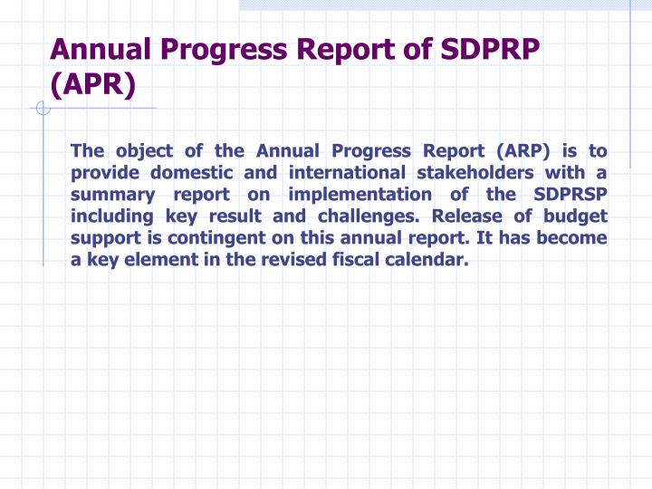 Annual Progress Report of SDPRP (APR)