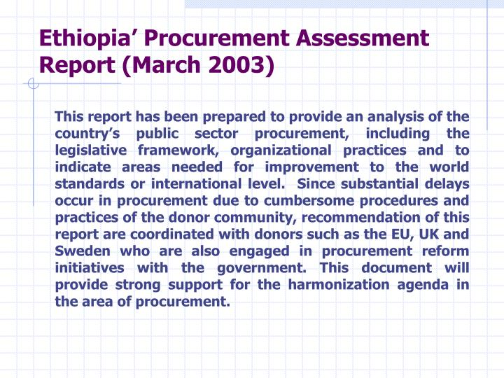 Ethiopia' Procurement Assessment Report (March 2003)