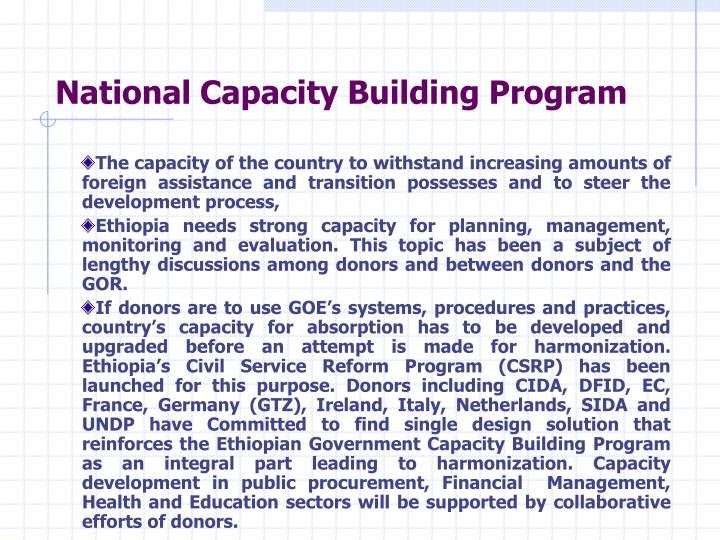 National Capacity Building Program