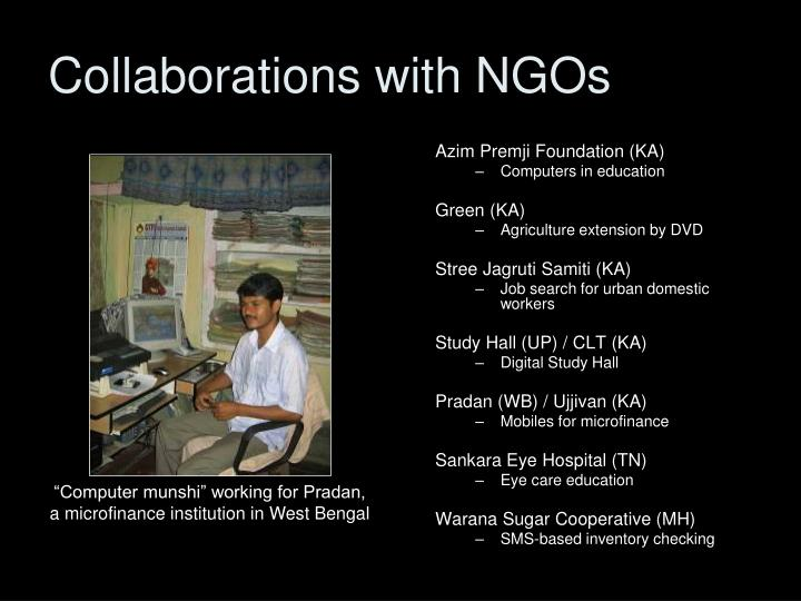 Collaborations with NGOs