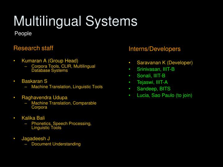 Multilingual Systems