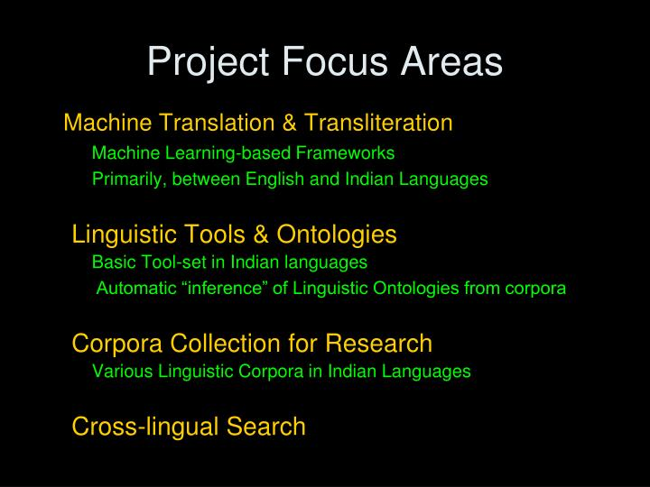 Project Focus Areas