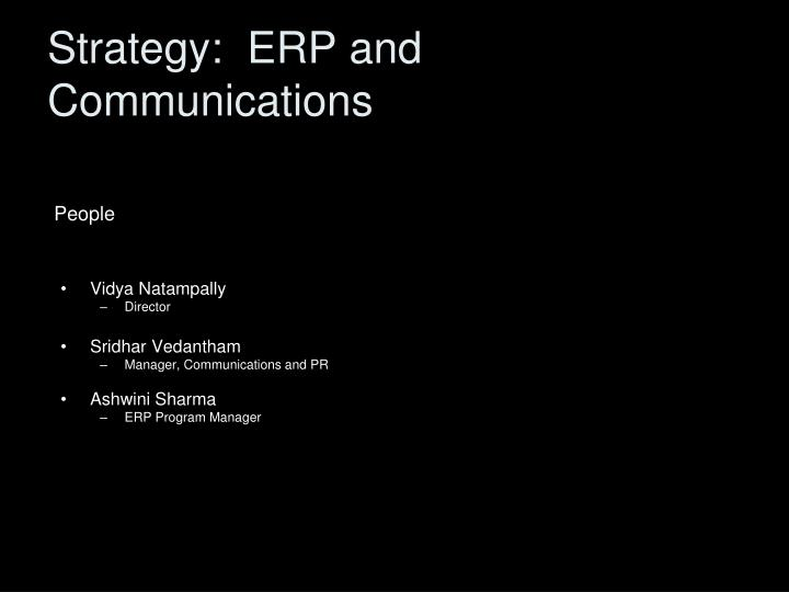 Strategy:  ERP and Communications