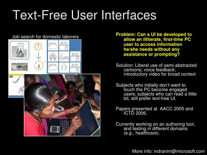 Text-Free User Interfaces