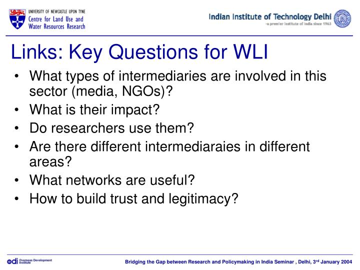 Links: Key Questions for WLI