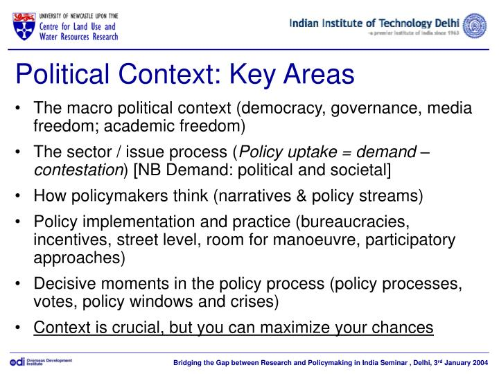 Political context key areas
