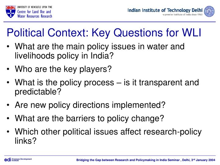 Political Context: Key Questions for WLI