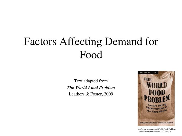 Factors affecting demand for food
