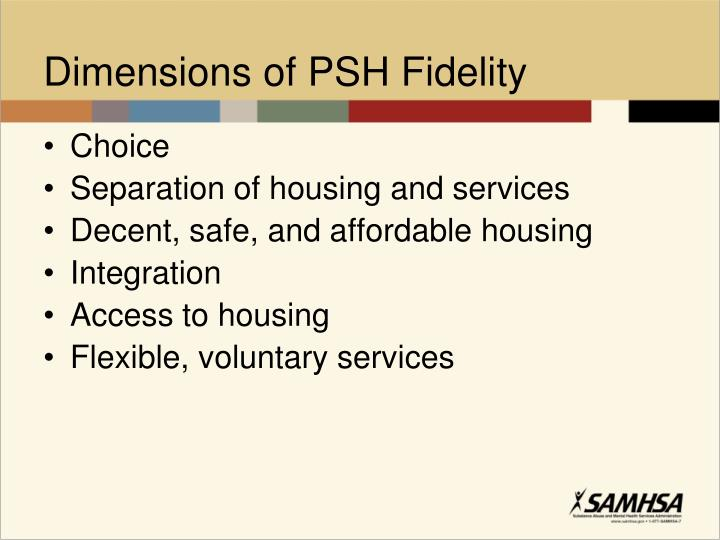 Dimensions of PSH Fidelity