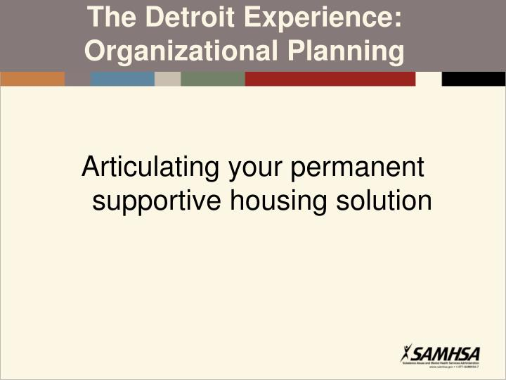 The Detroit Experience: Organizational Planning