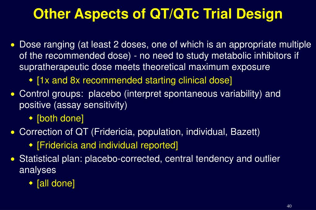 Other Aspects of QT/QTc Trial Design