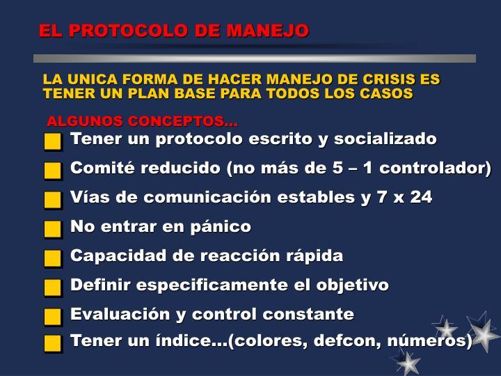 EL PROTOCOLO DE MANEJO