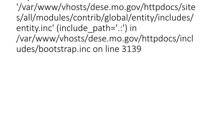 Fatal error: require_once(): Failed opening required '/var/www/vhosts/dese.mo.gov/httpdocs/sites/al...