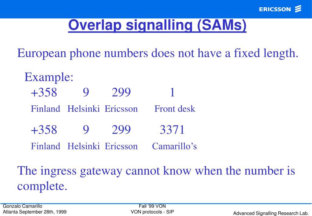 Overlap signalling (SAMs)