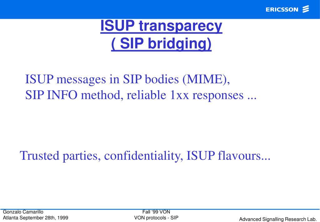 ISUP transparecy