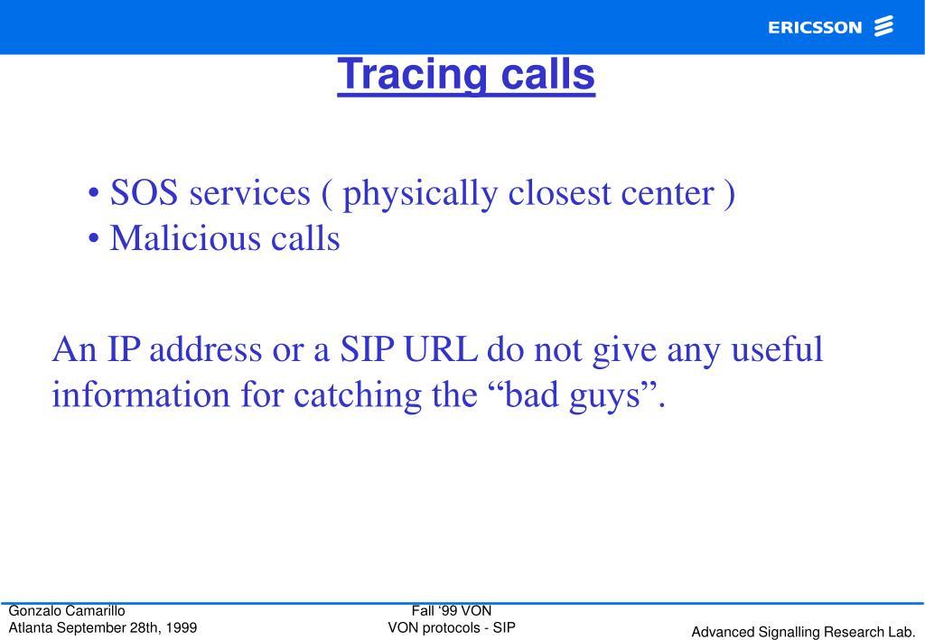 Tracing calls