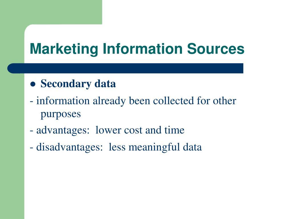 Marketing Information Sources