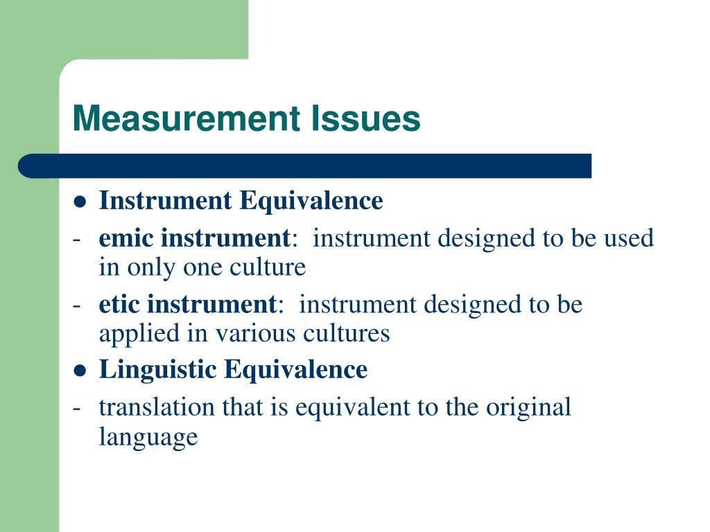 Measurement Issues