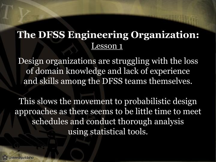 The DFSS Engineering Organization: