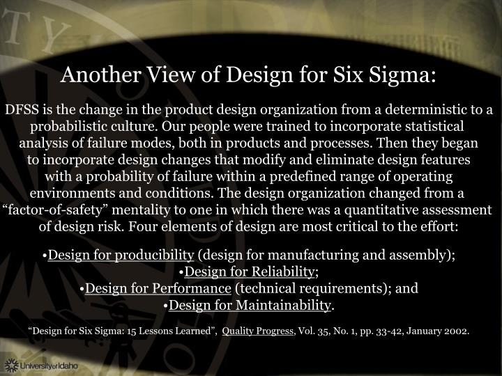 Another View of Design for Six Sigma:
