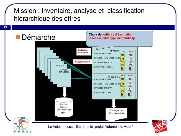 Mission : Inventaire, analyse et  classification hiérarchique des offres